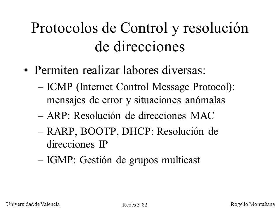 Redes 3-82 Universidad de Valencia Rogelio Montañana Protocolos de Control y resolución de direcciones Permiten realizar labores diversas: –ICMP (Inte