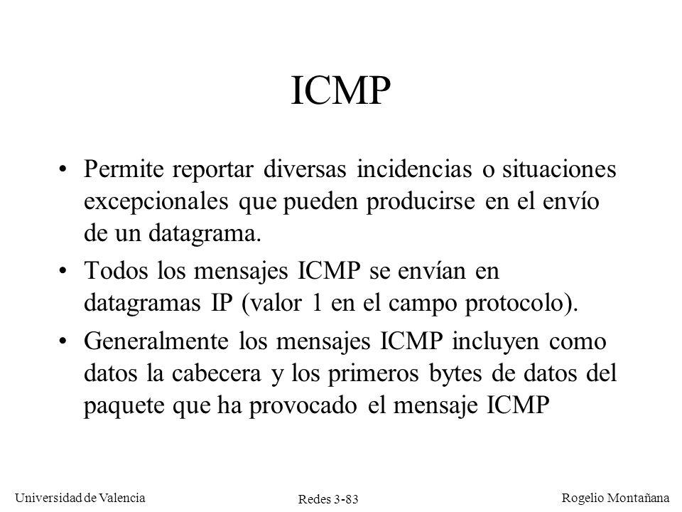 Redes 3-83 Universidad de Valencia Rogelio Montañana ICMP Permite reportar diversas incidencias o situaciones excepcionales que pueden producirse en e
