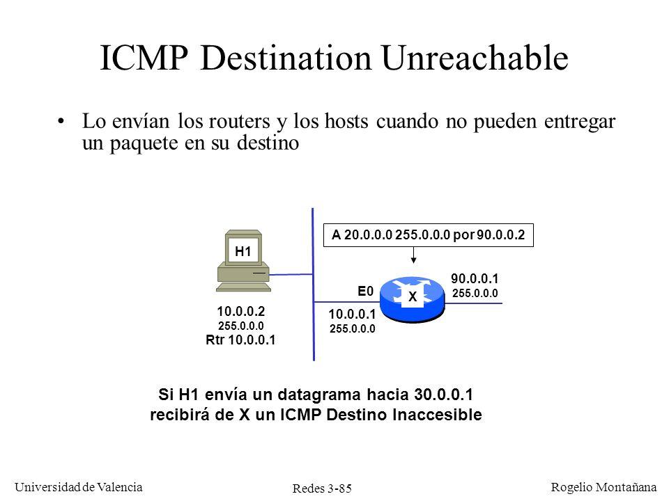 Redes 3-85 Universidad de Valencia Rogelio Montañana ICMP Destination Unreachable Lo envían los routers y los hosts cuando no pueden entregar un paque
