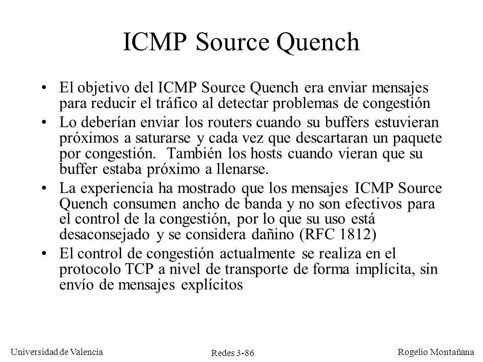 Redes 3-86 Universidad de Valencia Rogelio Montañana ICMP Source Quench El objetivo del ICMP Source Quench era enviar mensajes para reducir el tráfico