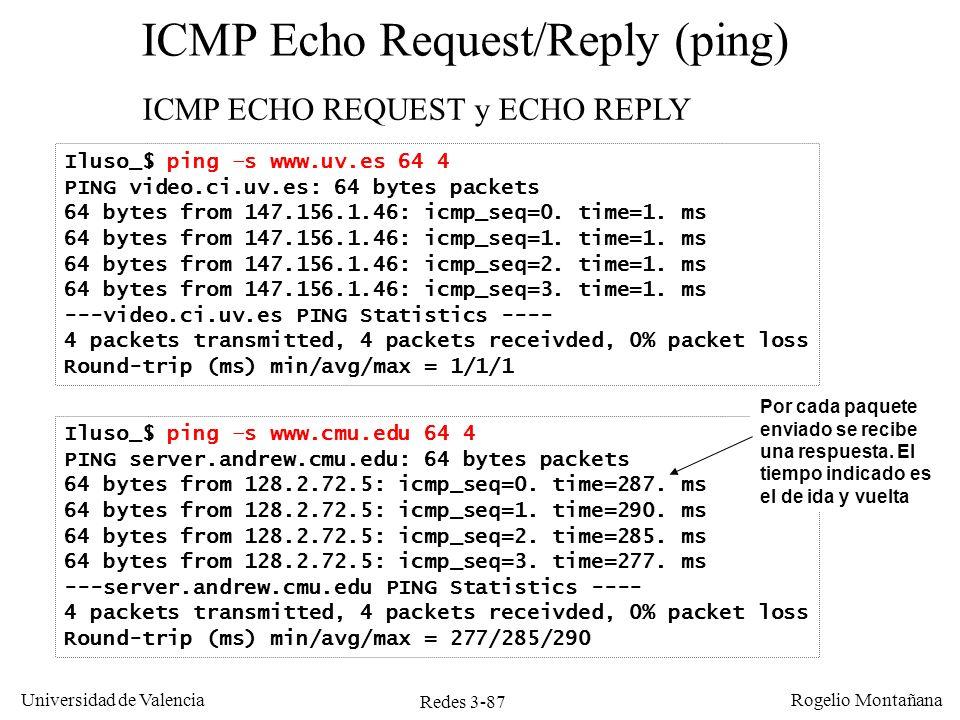 Redes 3-87 Universidad de Valencia Rogelio Montañana Iluso_$ ping –s www.cmu.edu 64 4 PING server.andrew.cmu.edu: 64 bytes packets 64 bytes from 128.2