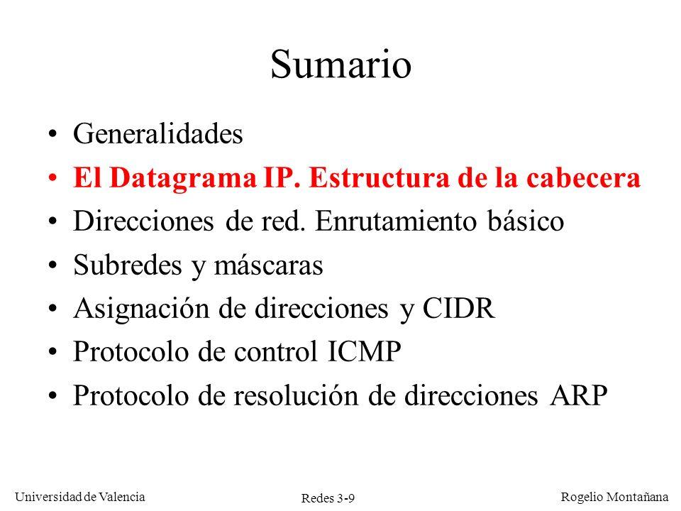 Redes 3-9 Universidad de Valencia Rogelio Montañana Sumario Generalidades El Datagrama IP. Estructura de la cabecera Direcciones de red. Enrutamiento