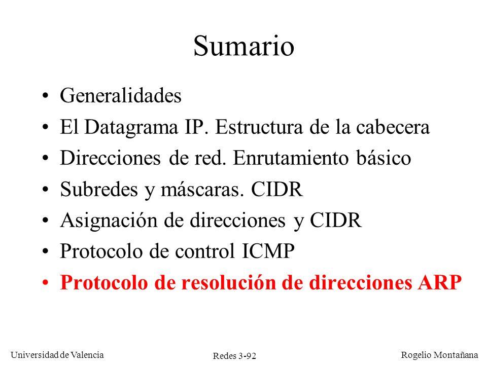 Redes 3-92 Universidad de Valencia Rogelio Montañana Sumario Generalidades El Datagrama IP. Estructura de la cabecera Direcciones de red. Enrutamiento