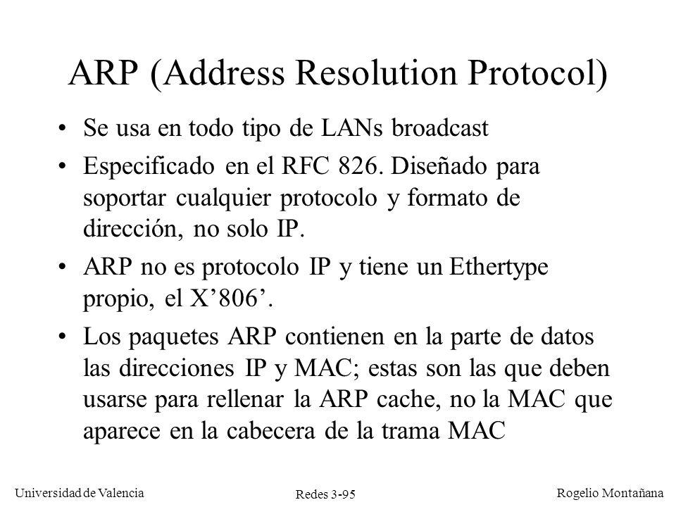 Redes 3-95 Universidad de Valencia Rogelio Montañana Se usa en todo tipo de LANs broadcast Especificado en el RFC 826. Diseñado para soportar cualquie