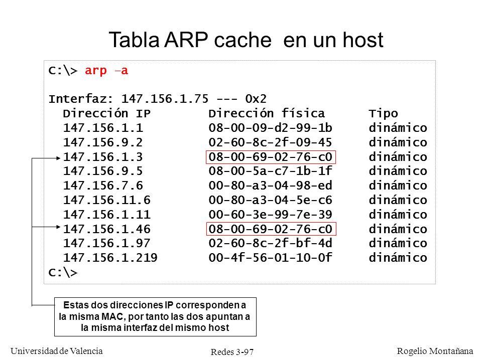 Redes 3-97 Universidad de Valencia Rogelio Montañana C:\> arp –a Interfaz: 147.156.1.75 --- 0x2 Dirección IP Dirección física Tipo 147.156.1.1 08-00-0