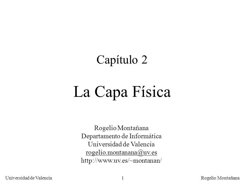 121 Universidad de Valencia Rogelio Montañana Ejercicio 2-8 Relación S/R (ley de Shannon) C = BW * log 2 (1 + SR) C: caudal (Kb/s) BW: Ancho de banda (KHz) Despejando: SR = 2 ** (C / BW) –1 Sustituyendo para C = 705,6 Kb/s y BW = 22,05 KHz: SR = 2 (705,6/22,05) – 1 = 2 32 – 1 = 4,295*10 9 = 96,3 dB