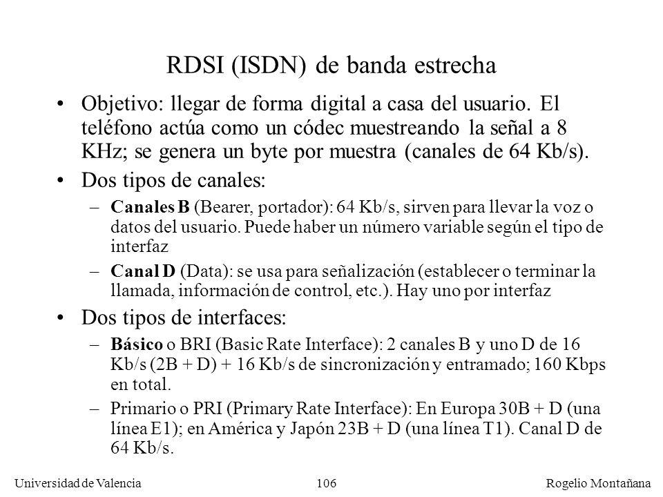 105 Universidad de Valencia Rogelio Montañana RDSI y Telefonía Digital Enlace troncal Digital Bucle AnalógicoRed Digital POTS CB Bucle Digital, Red Di