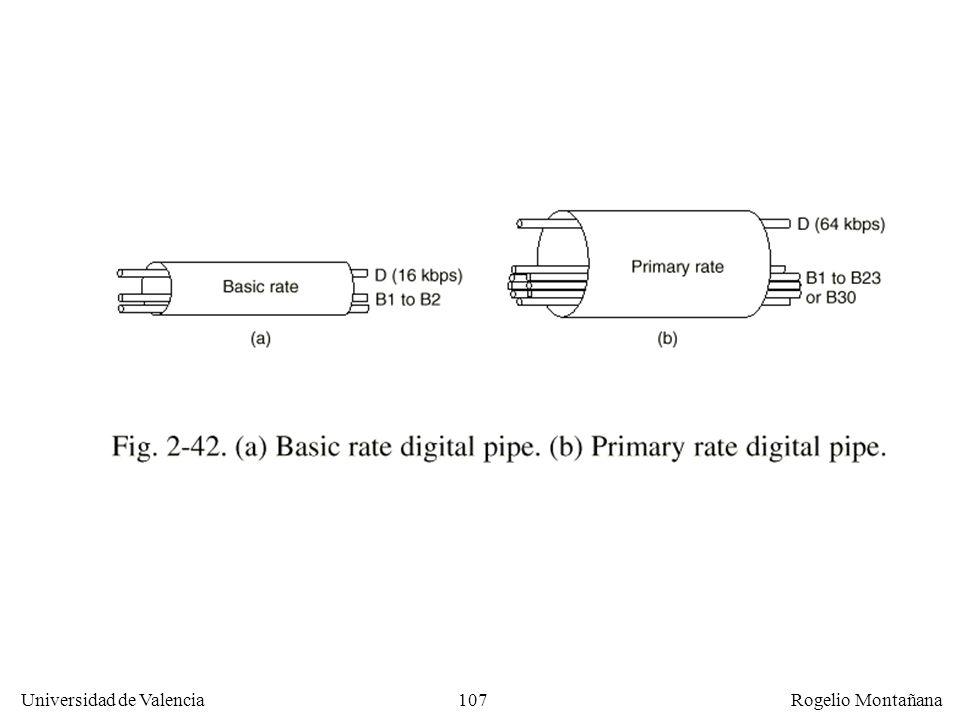 106 Universidad de Valencia Rogelio Montañana RDSI (ISDN) de banda estrecha Objetivo: llegar de forma digital a casa del usuario. El teléfono actúa co