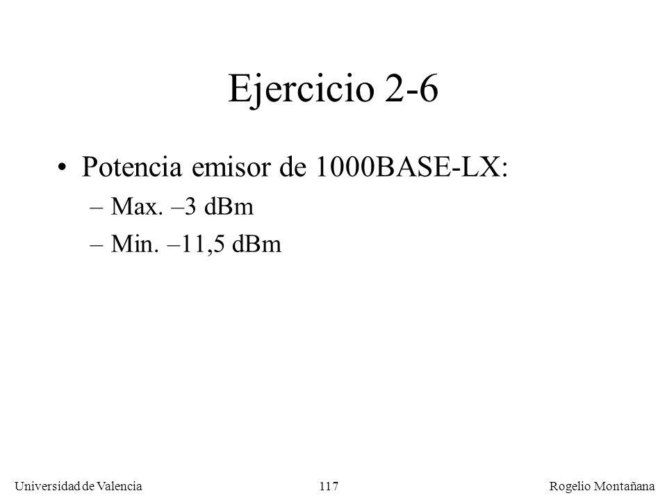 116 Universidad de Valencia Rogelio Montañana Ejercicio 2-6 Cálculo dispersión: Ancho de banda fibra: 500 MHz*Km Ancho de banda = Caudal (Mb/s) * Dist