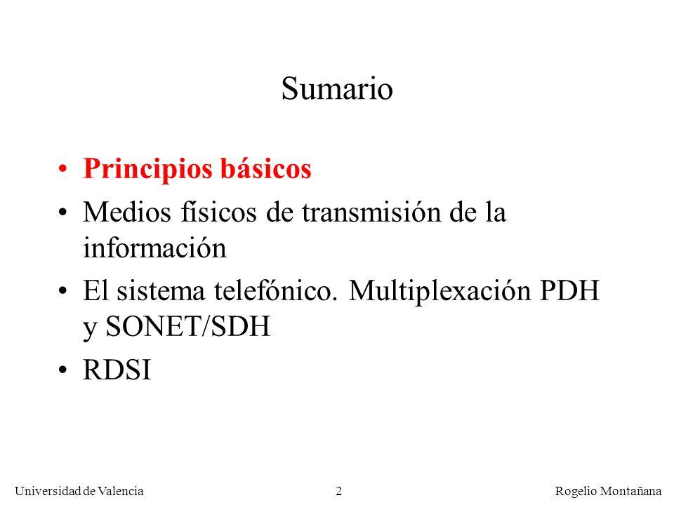 2 Universidad de Valencia Rogelio Montañana Sumario Principios básicos Medios físicos de transmisión de la información El sistema telefónico.