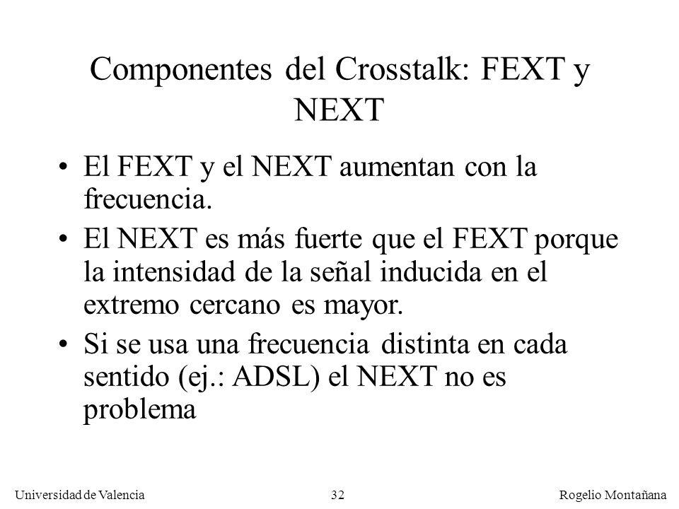 31 Universidad de Valencia Rogelio Montañana El FEXT lo produce la señal inducida que es percibida en el lado receptor. Es mas débil que el NEXT Far e