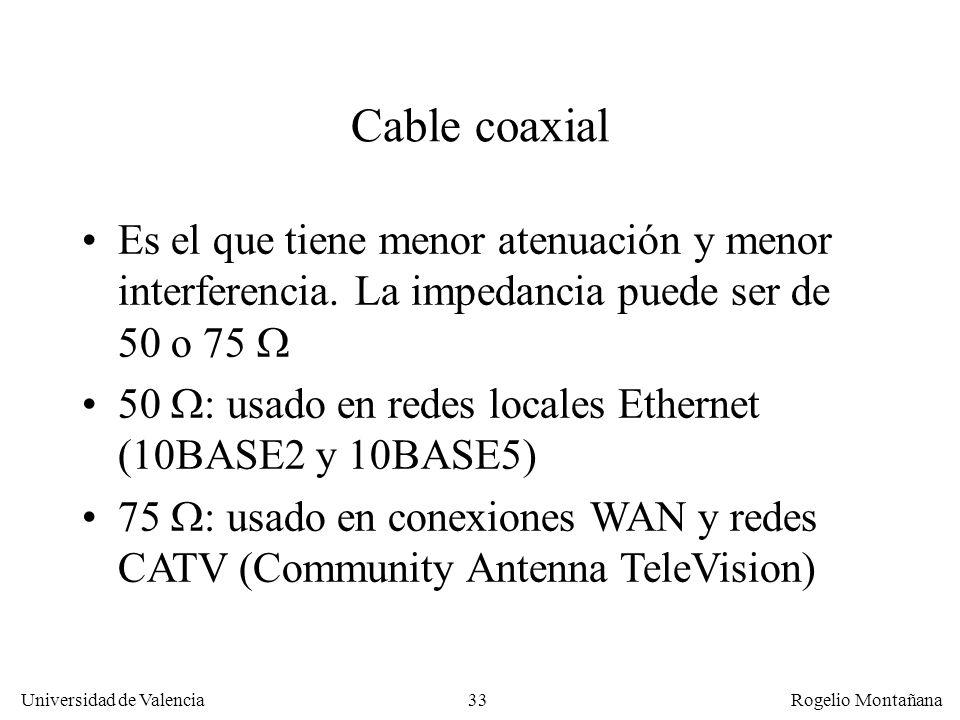 32 Universidad de Valencia Rogelio Montañana Componentes del Crosstalk: FEXT y NEXT El FEXT y el NEXT aumentan con la frecuencia. El NEXT es más fuert