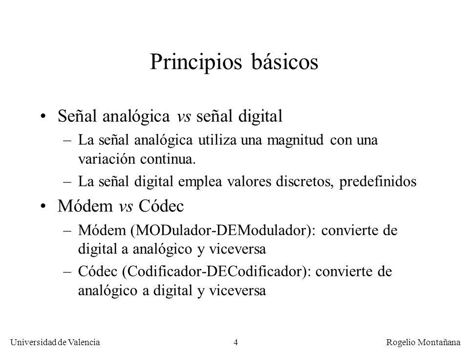 4 Universidad de Valencia Rogelio Montañana Principios básicos Señal analógica vs señal digital –La señal analógica utiliza una magnitud con una variación continua.