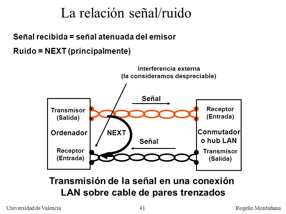 40 Universidad de Valencia Rogelio Montañana Atenuación y Diafonía La atenuación se puede compensar con un emisor más potente o un receptor más sensib