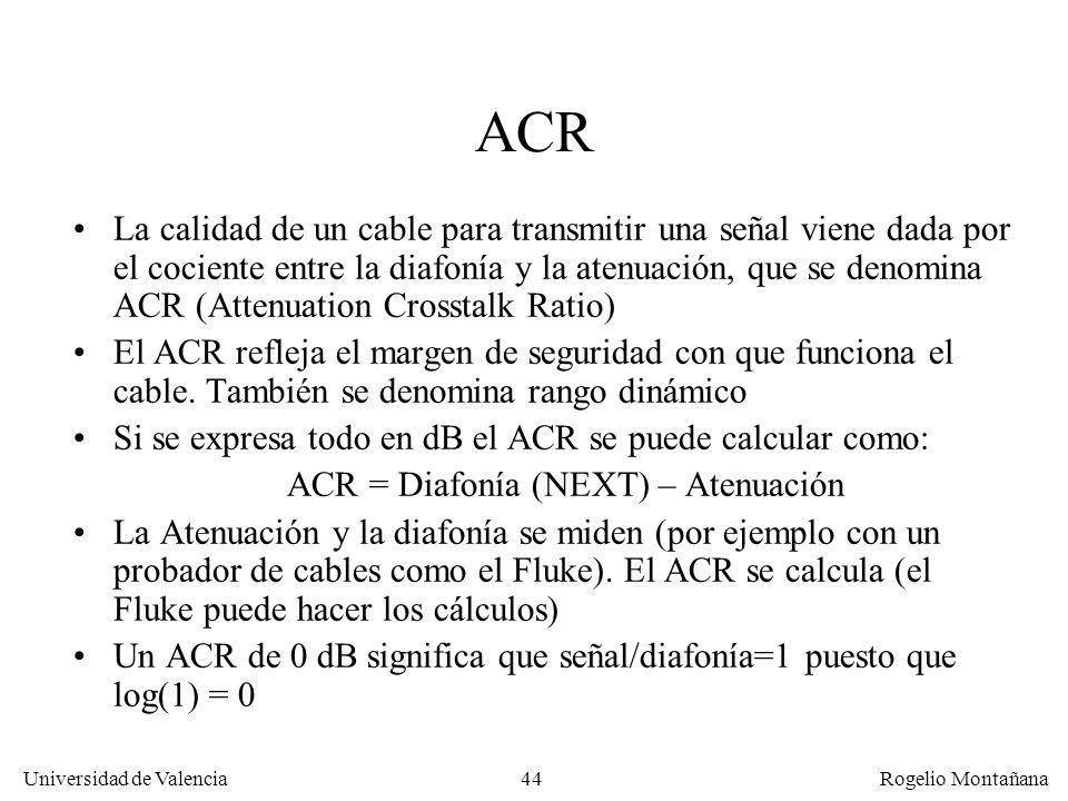 43 Universidad de Valencia Rogelio Montañana Atenuación Diafonía (Crosstalk) ACR (Attenuation/ Crosstalk Ratio) Frecuencia (MHz) Potencia de señal (dB