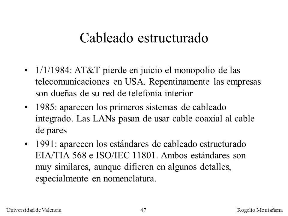 46 Universidad de Valencia Rogelio Montañana 10 20 30 50 40 70 60 0 0 50100 150 200 Frecuencia (MHz) dB Aten. Cat. 6 Aten. Cat. 5 NEXT Cat. 6 NEXT Cat