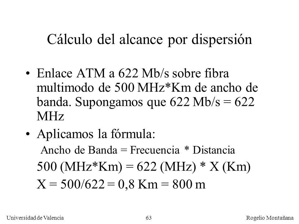 62 Universidad de Valencia Rogelio Montañana Factores que influyen en la atenuación de un trayecto de fibra óptica Distancia a cubrir Latiguillos, emp