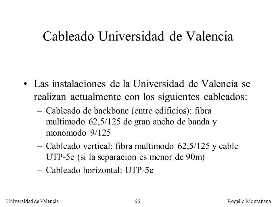 65 Universidad de Valencia Rogelio Montañana Fibra vs cobre Se recomienda utilizar fibra cuando: –Se conectan edificios diferentes (posible diferencia