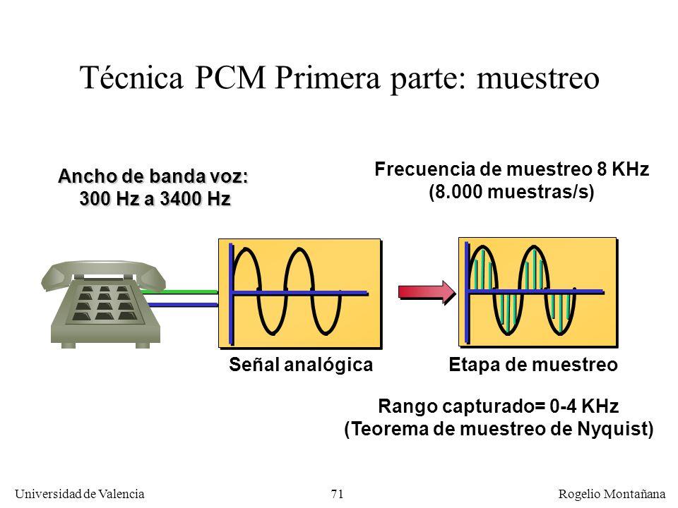 70 Universidad de Valencia Rogelio Montañana Telefonía digital o PCM (Pulse Code Modulation) Se implantó en los años 60 para simplificar la multiplexa