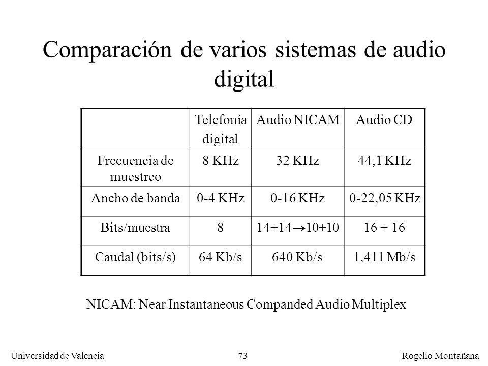 72 Universidad de Valencia Rogelio Montañana Etapa de muestreo Etapa de cuantización Ruido de cuantización 100100111011001 Técnica PCM Pulse Segunda p