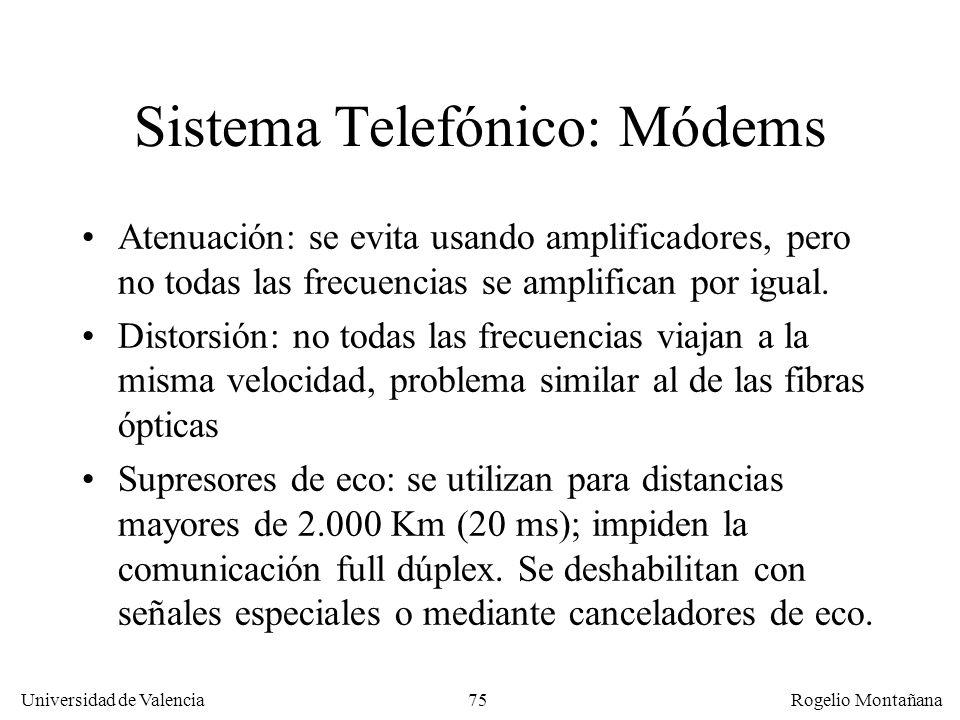 74 Universidad de Valencia Rogelio Montañana Ordenador Módem Central Telefónica de origen Central Telefónica de destino Central Telefónica intermedia