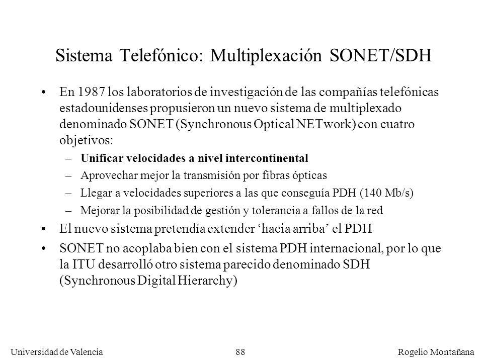87 Universidad de Valencia Rogelio Montañana Sistema Telefónico: multiplexación PDH y SDH Las velocidades más comunes en datos son: –64 Kb/s –n x 64 K