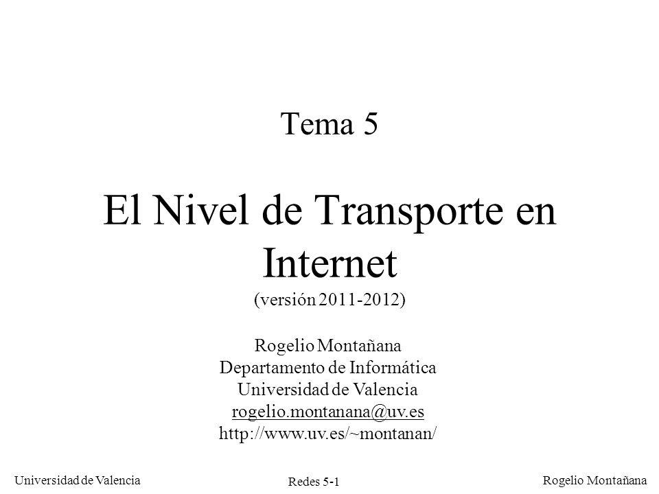 Redes 5-1 Universidad de Valencia Rogelio Montañana Tema 5 El Nivel de Transporte en Internet (versión 2011-2012) Rogelio Montañana Departamento de In