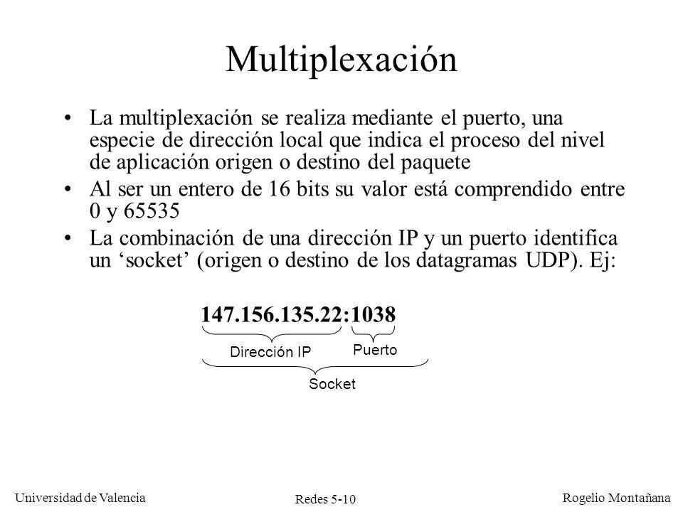 Redes 5-10 Universidad de Valencia Rogelio Montañana La multiplexación se realiza mediante el puerto, una especie de dirección local que indica el pro