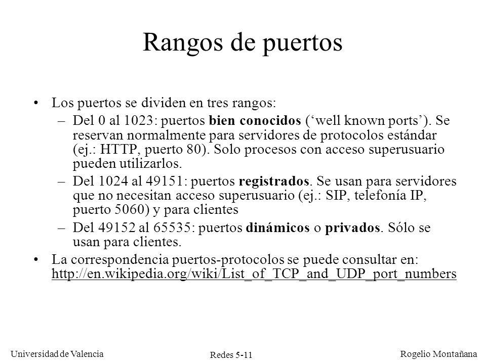 Redes 5-11 Universidad de Valencia Rogelio Montañana Los puertos se dividen en tres rangos: –Del 0 al 1023: puertos bien conocidos (well known ports).