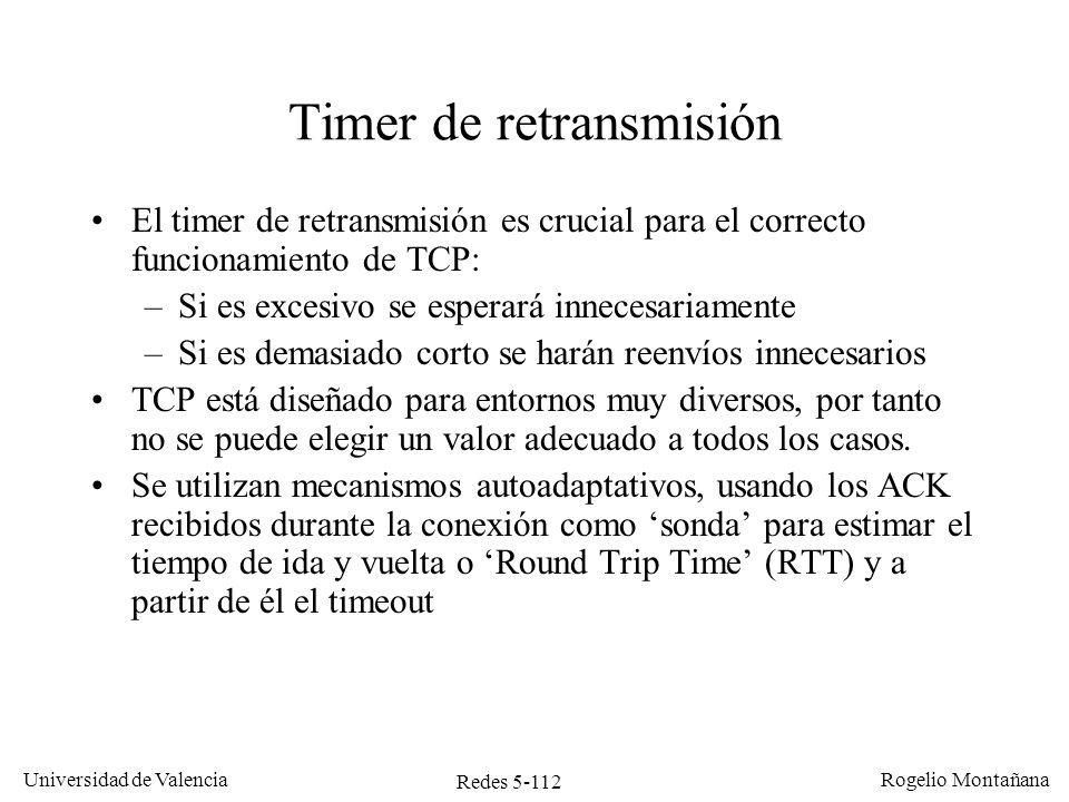 Redes 5-112 Universidad de Valencia Rogelio Montañana Timer de retransmisión El timer de retransmisión es crucial para el correcto funcionamiento de T