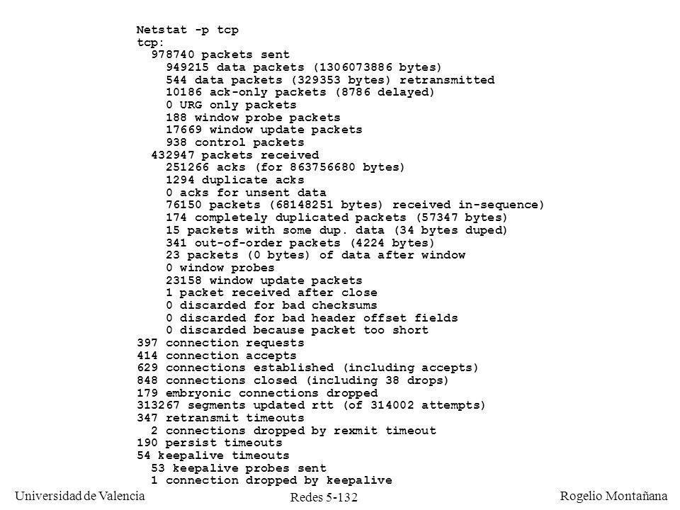 Redes 5-132 Universidad de Valencia Rogelio Montañana Netstat -p tcp tcp: 978740 packets sent 949215 data packets (1306073886 bytes) 544 data packets