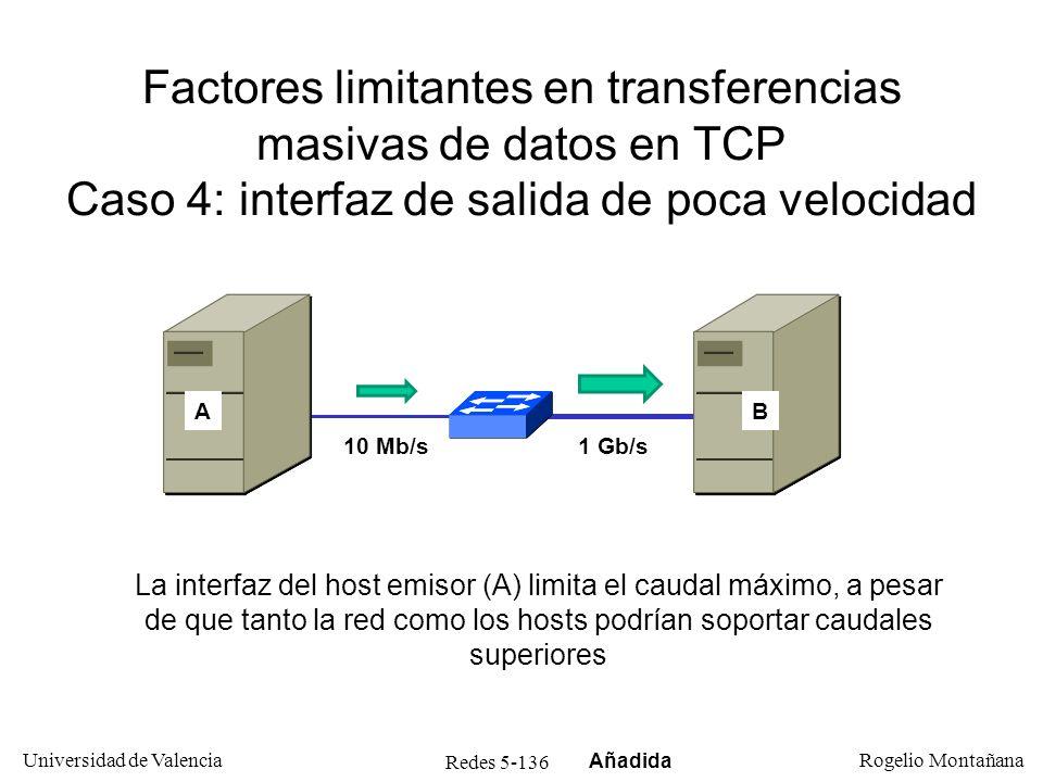 Redes 5-136 Universidad de Valencia Rogelio Montañana Factores limitantes en transferencias masivas de datos en TCP Caso 4: interfaz de salida de poca