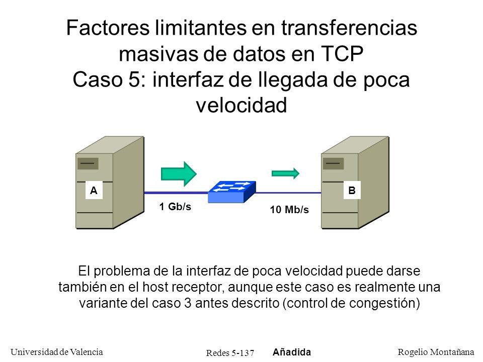 Redes 5-137 Universidad de Valencia Rogelio Montañana Factores limitantes en transferencias masivas de datos en TCP Caso 5: interfaz de llegada de poc