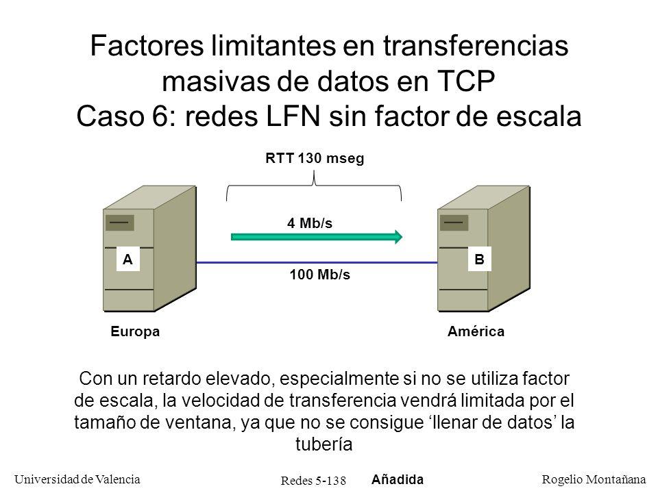 Redes 5-138 Universidad de Valencia Rogelio Montañana Factores limitantes en transferencias masivas de datos en TCP Caso 6: redes LFN sin factor de es