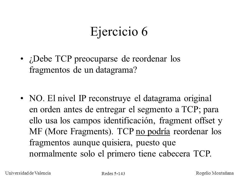 Redes 5-143 Universidad de Valencia Rogelio Montañana Ejercicio 6 ¿Debe TCP preocuparse de reordenar los fragmentos de un datagrama? NO. El nivel IP r