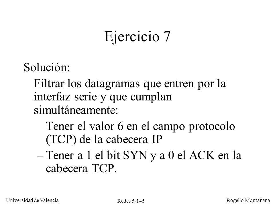 Redes 5-145 Universidad de Valencia Rogelio Montañana Ejercicio 7 Solución: Filtrar los datagramas que entren por la interfaz serie y que cumplan simu