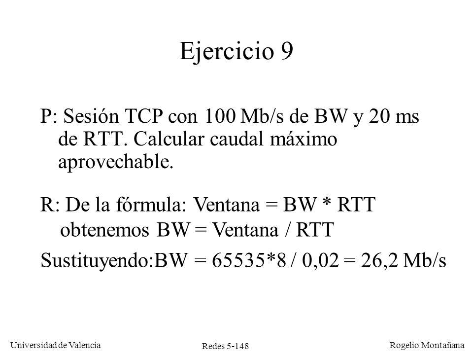 Redes 5-148 Universidad de Valencia Rogelio Montañana Ejercicio 9 P: Sesión TCP con 100 Mb/s de BW y 20 ms de RTT. Calcular caudal máximo aprovechable