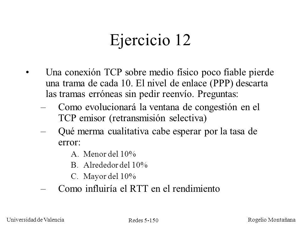 Redes 5-150 Universidad de Valencia Rogelio Montañana Ejercicio 12 Una conexión TCP sobre medio físico poco fiable pierde una trama de cada 10. El niv