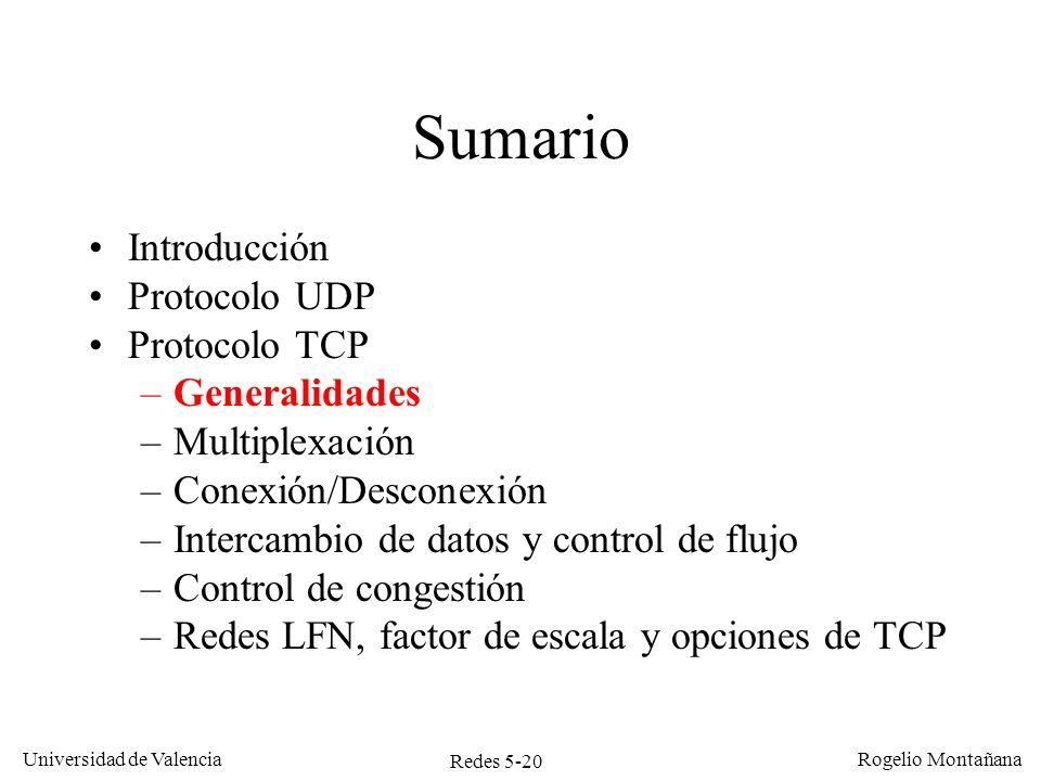 Redes 5-20 Universidad de Valencia Rogelio Montañana Sumario Introducción Protocolo UDP Protocolo TCP –Generalidades –Multiplexación –Conexión/Descone
