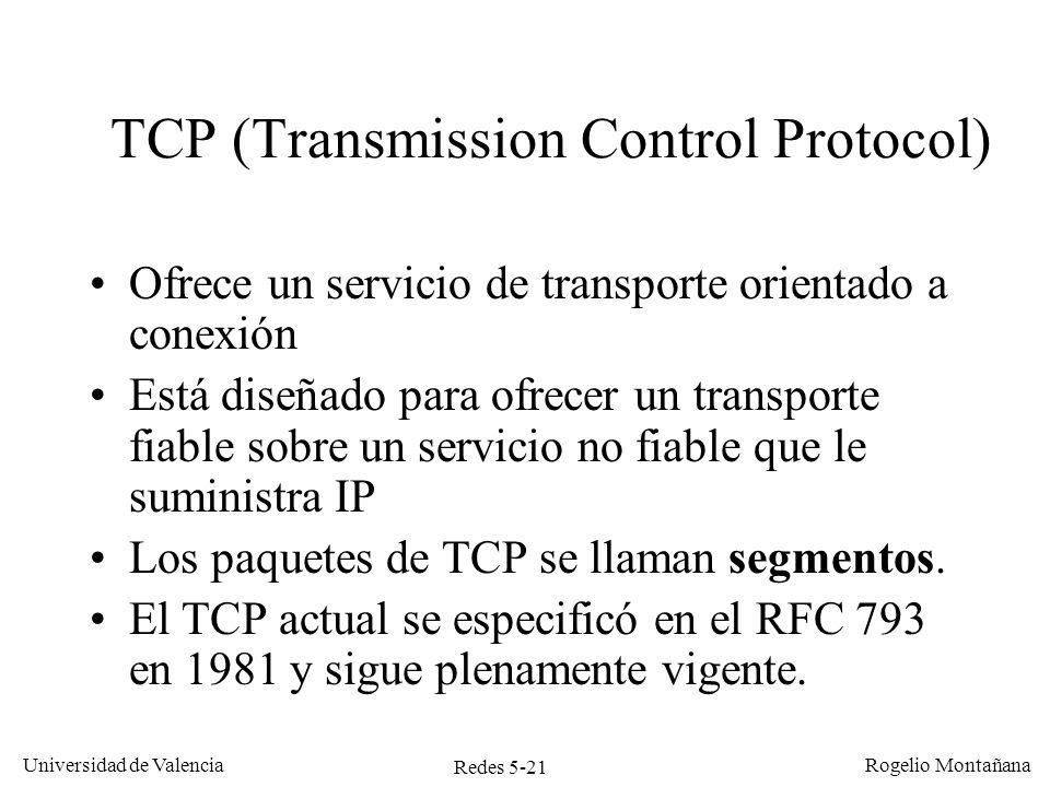 Redes 5-21 Universidad de Valencia Rogelio Montañana TCP (Transmission Control Protocol) Ofrece un servicio de transporte orientado a conexión Está di