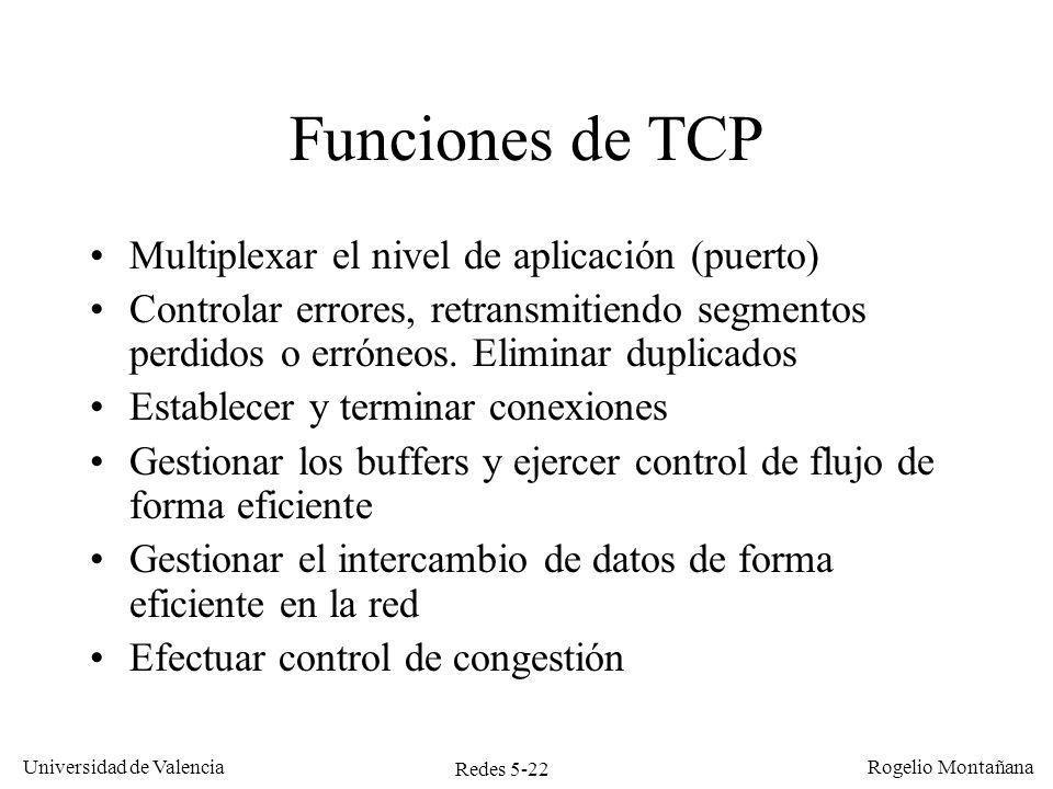 Redes 5-22 Universidad de Valencia Rogelio Montañana Funciones de TCP Multiplexar el nivel de aplicación (puerto) Controlar errores, retransmitiendo s