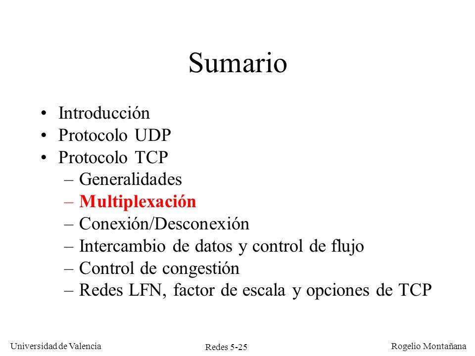 Redes 5-25 Universidad de Valencia Rogelio Montañana Sumario Introducción Protocolo UDP Protocolo TCP –Generalidades –Multiplexación –Conexión/Descone