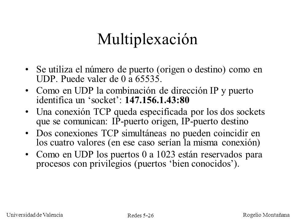 Redes 5-26 Universidad de Valencia Rogelio Montañana Multiplexación Se utiliza el número de puerto (origen o destino) como en UDP. Puede valer de 0 a