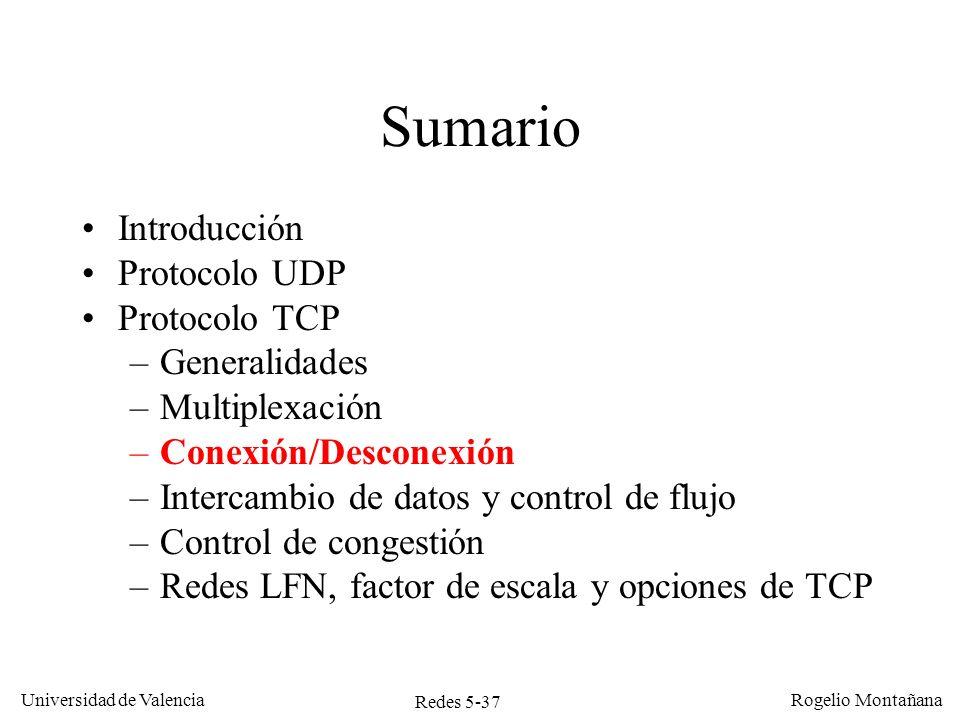 Redes 5-37 Universidad de Valencia Rogelio Montañana Sumario Introducción Protocolo UDP Protocolo TCP –Generalidades –Multiplexación –Conexión/Descone