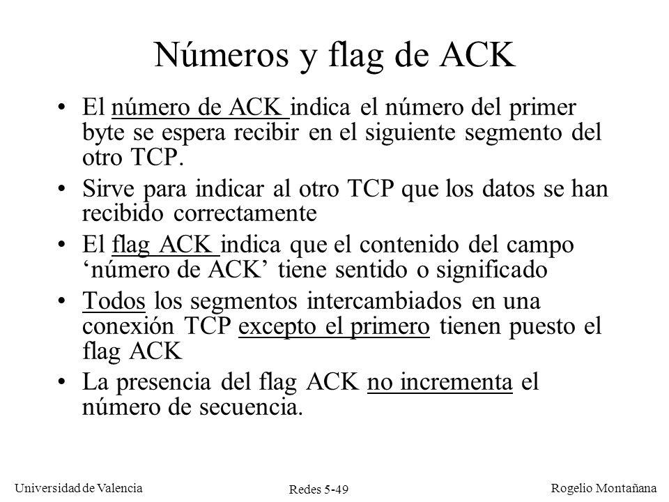 Redes 5-49 Universidad de Valencia Rogelio Montañana Números y flag de ACK El número de ACK indica el número del primer byte se espera recibir en el s