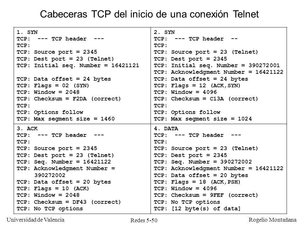 Redes 5-50 Universidad de Valencia Rogelio Montañana 1. SYN TCP: --- TCP header --- TCP: TCP: Source port = 2345 TCP: Dest port = 23 (Telnet) TCP: Ini