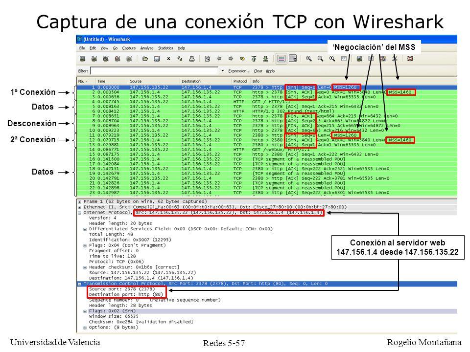 Redes 5-57 Universidad de Valencia Rogelio Montañana Captura de una conexión TCP con Wireshark Conexión al servidor web 147.156.1.4 desde 147.156.135.