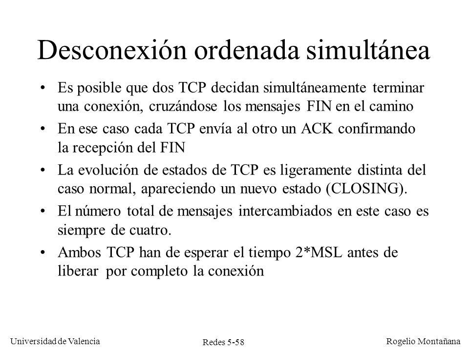 Redes 5-58 Universidad de Valencia Rogelio Montañana Desconexión ordenada simultánea Es posible que dos TCP decidan simultáneamente terminar una conex