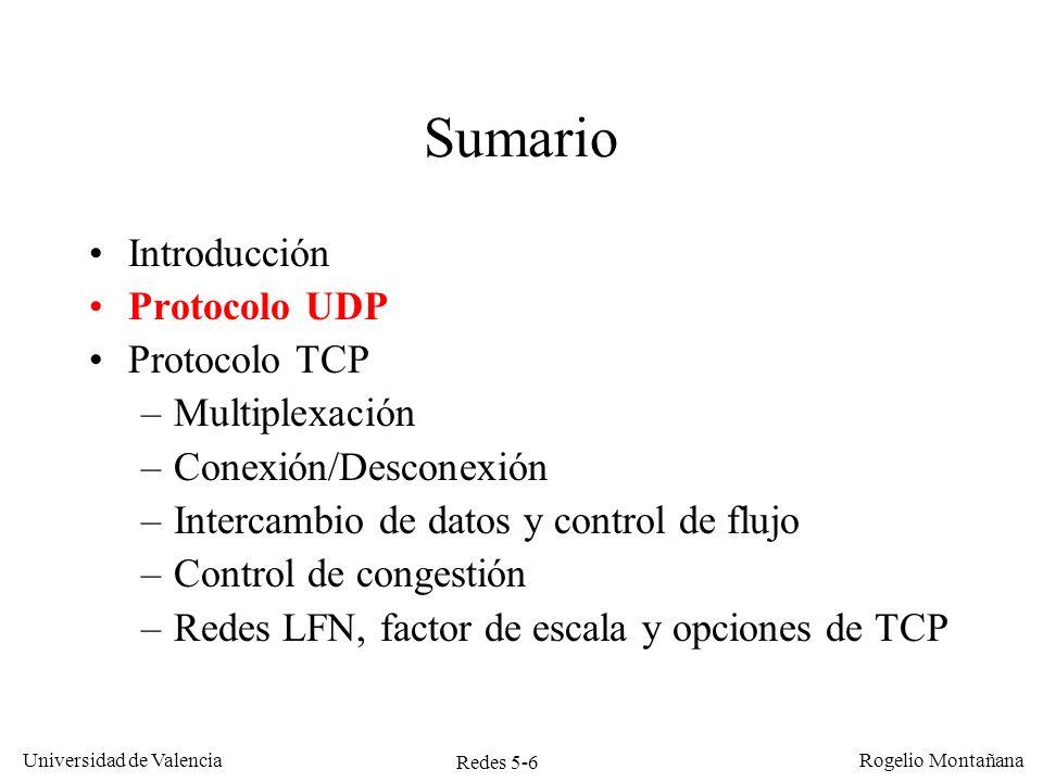 Redes 5-6 Universidad de Valencia Rogelio Montañana Sumario Introducción Protocolo UDP Protocolo TCP –Multiplexación –Conexión/Desconexión –Intercambi