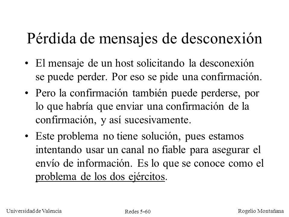 Redes 5-60 Universidad de Valencia Rogelio Montañana Pérdida de mensajes de desconexión El mensaje de un host solicitando la desconexión se puede perd